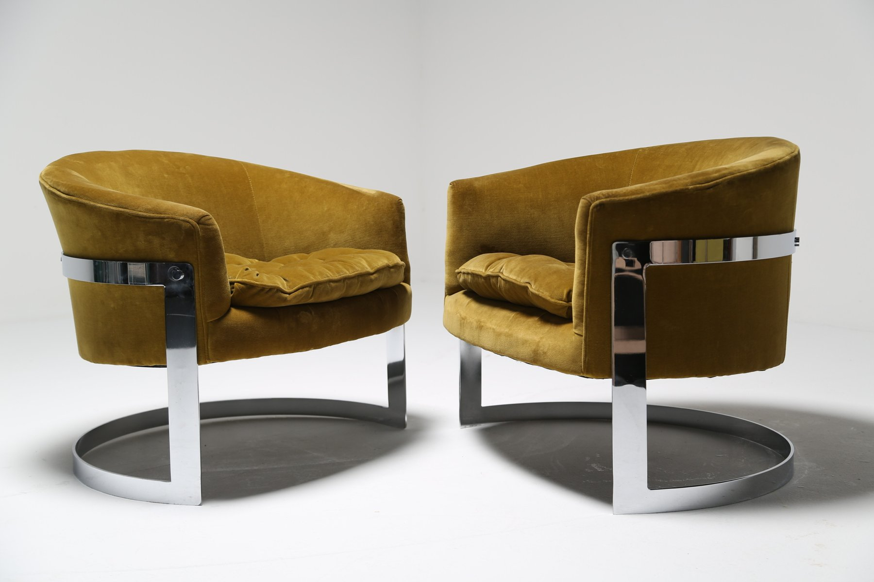 Ochre Velvet Tub Chairs 1970s Set Of 2 For Sale At Pamono