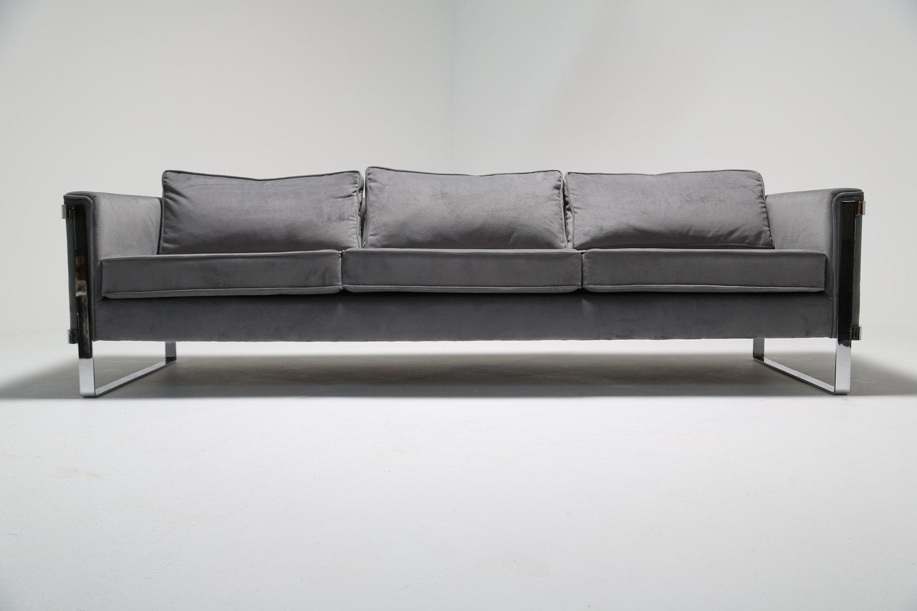 canap vintage en m tal chrom et velour gris en vente sur. Black Bedroom Furniture Sets. Home Design Ideas