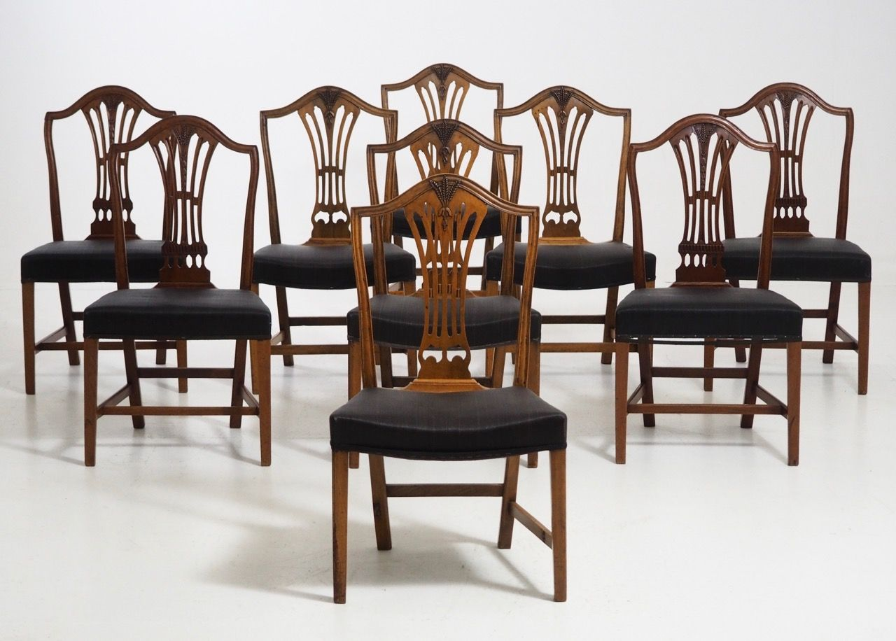 Antique horsehair upholstered dining chairs set of 8 for for Upholstered dining chairs for sale