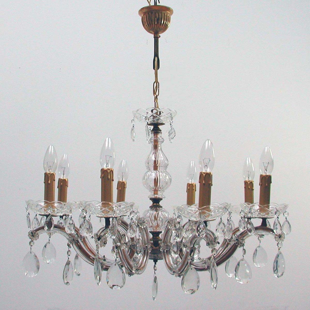 lampadario con 8 luci in ottone e cristallo italia anni 39 50 in vendita su pamono. Black Bedroom Furniture Sets. Home Design Ideas