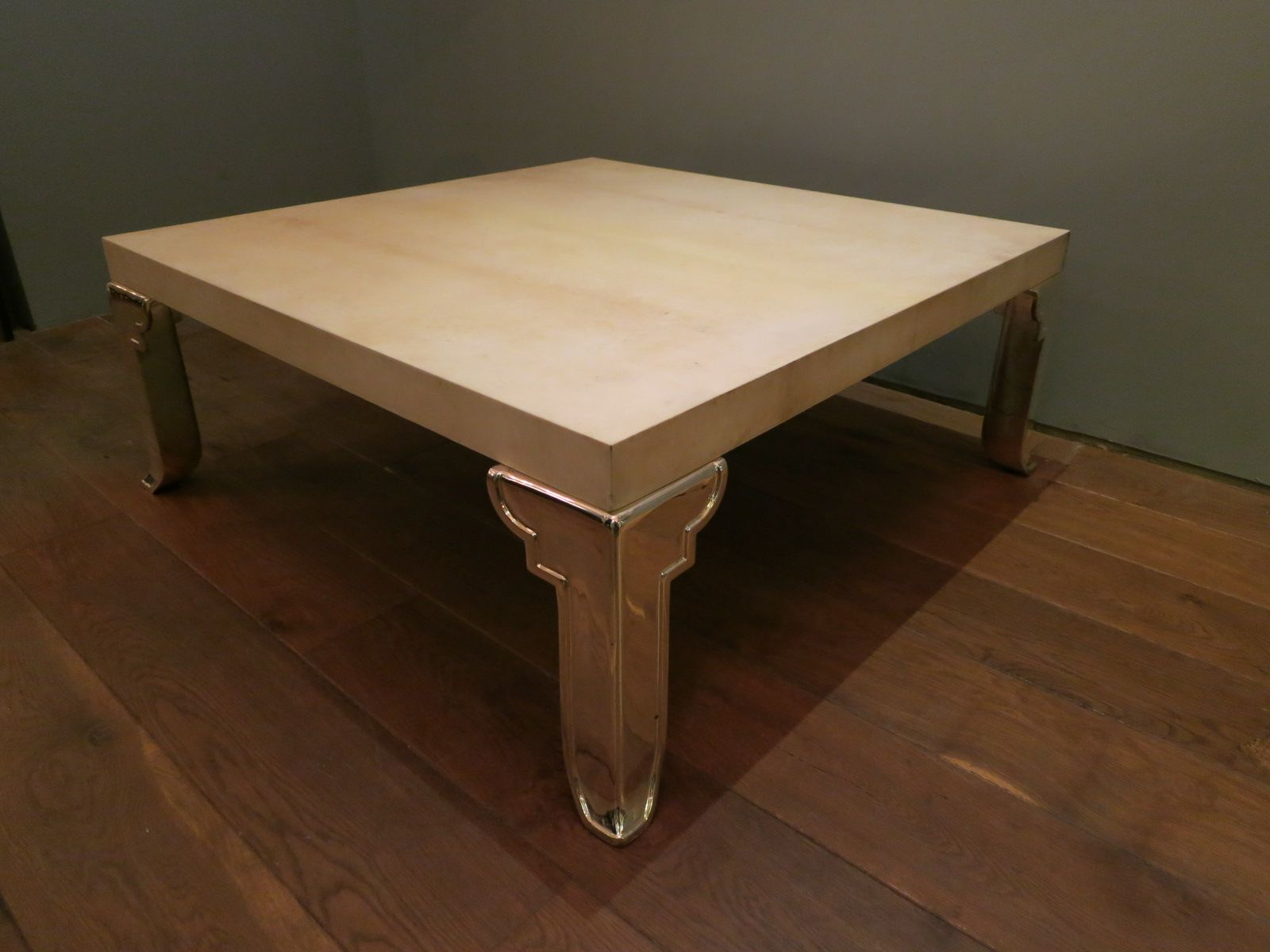 Square italian parchment coffee table 1970s for sale at for Italian coffee table
