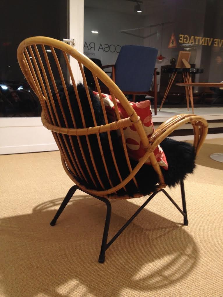 Danish Bamboo Chair with Black Sheepskin Cushions, 1950s