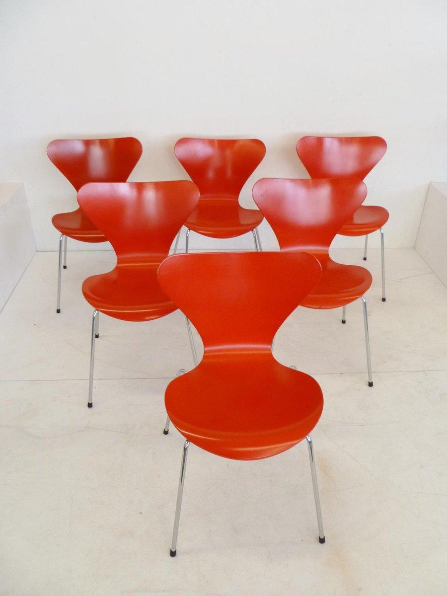 rote 3107 butterfly st hle von arne jacobsen f r fritz hansen 1991 10er set bei pamono kaufen. Black Bedroom Furniture Sets. Home Design Ideas