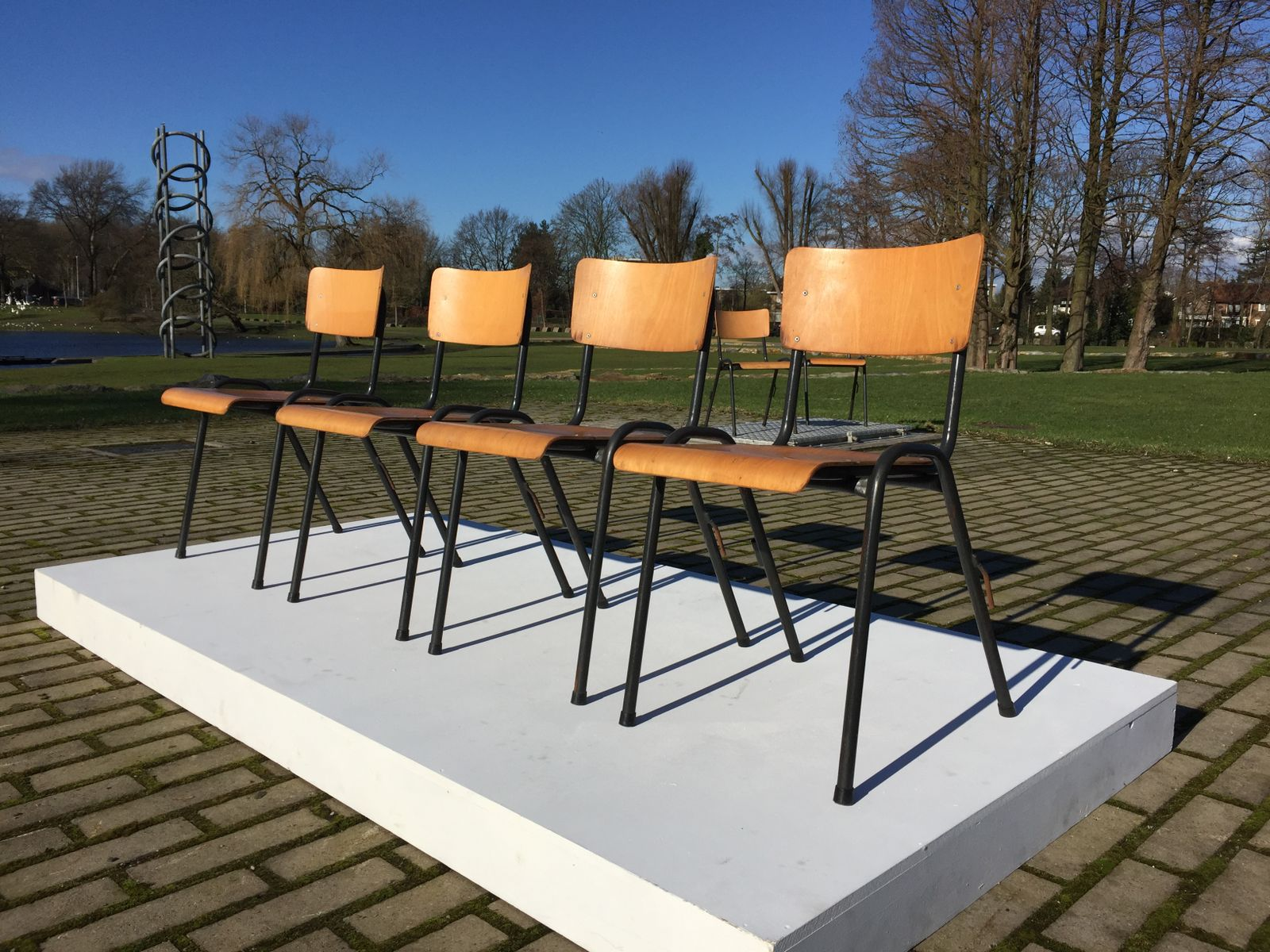 Industrial Birch Plywood Stackable Chairs Set of 10 for sale at