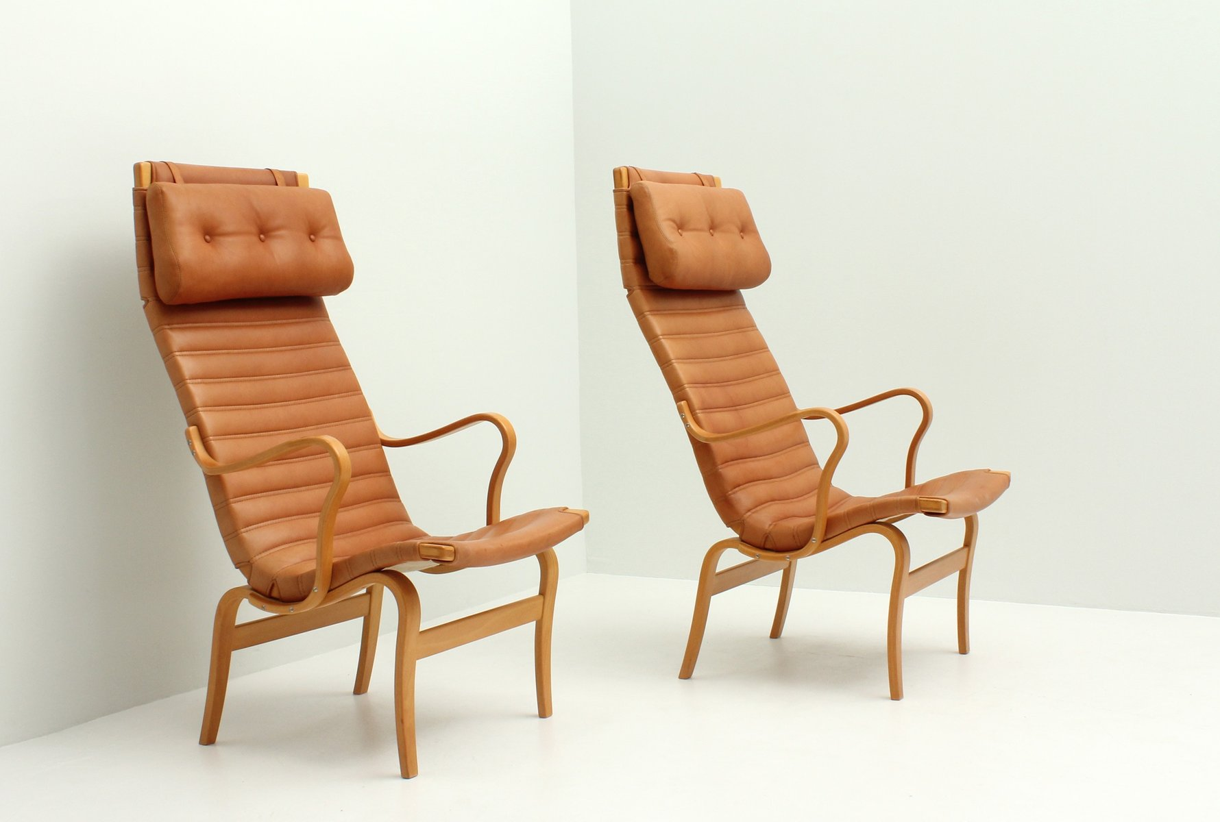 Eva High Back Chairs by Bruno Mathsson for Dux 1970s Set of 2