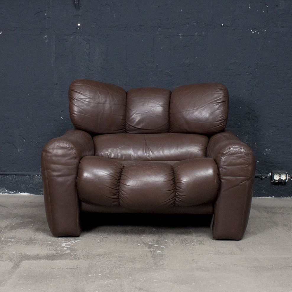 Vintage Italian Brown Leather Sofa And Lounge Chair For Sale At Pamono