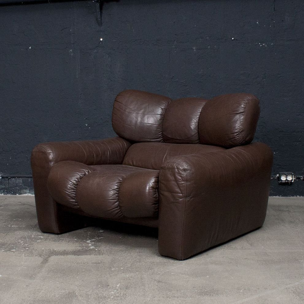 vintage italian brown leather sofa and lounge chair for sale at pamono. Black Bedroom Furniture Sets. Home Design Ideas