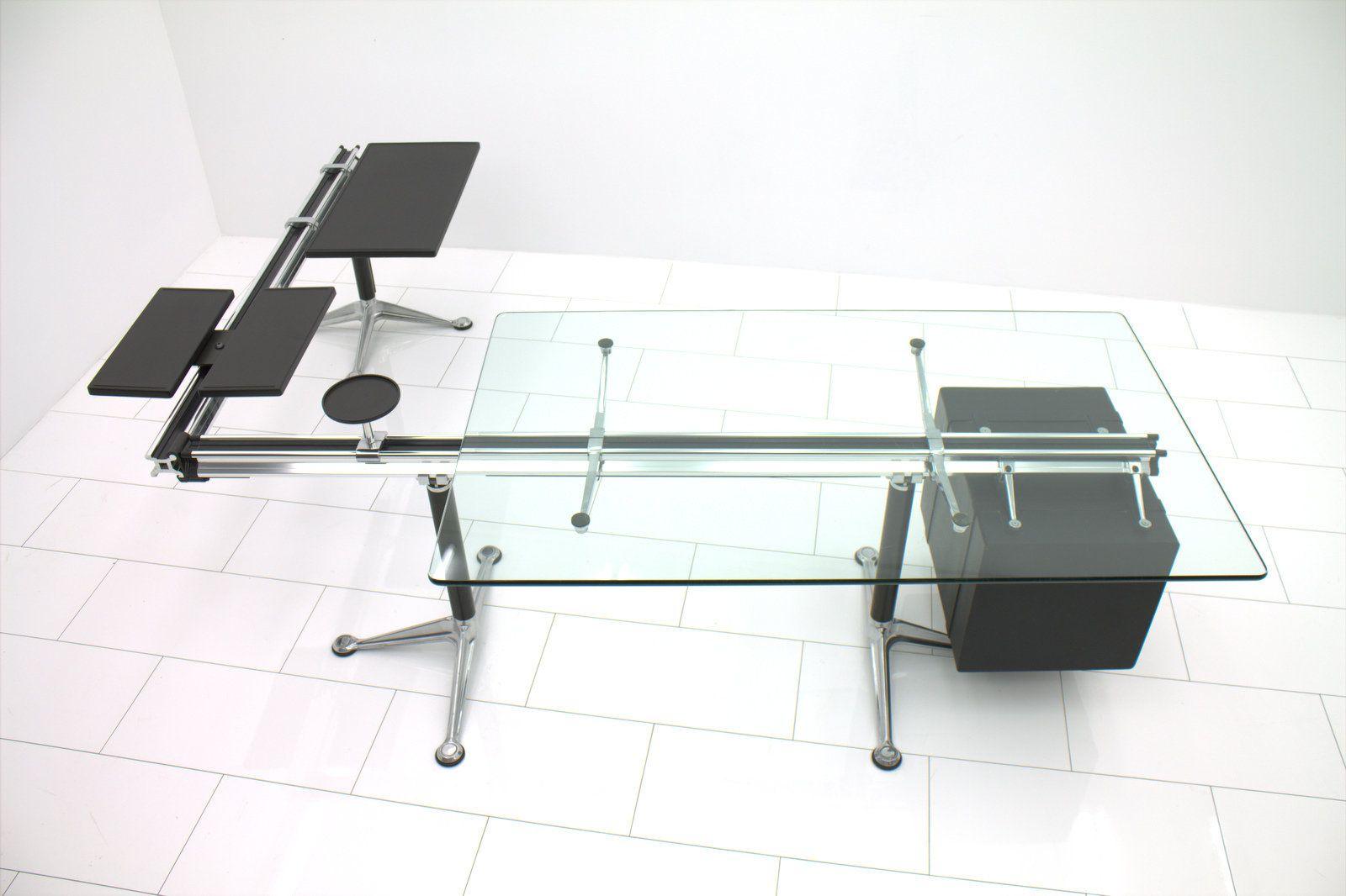 schreibtisch mit glasplatte von bruce burdick f r herman. Black Bedroom Furniture Sets. Home Design Ideas