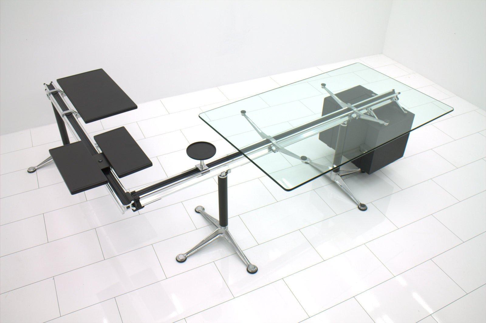 schreibtisch mit glasplatte von bruce burdick f r herman miller 1981 bei pamono kaufen. Black Bedroom Furniture Sets. Home Design Ideas