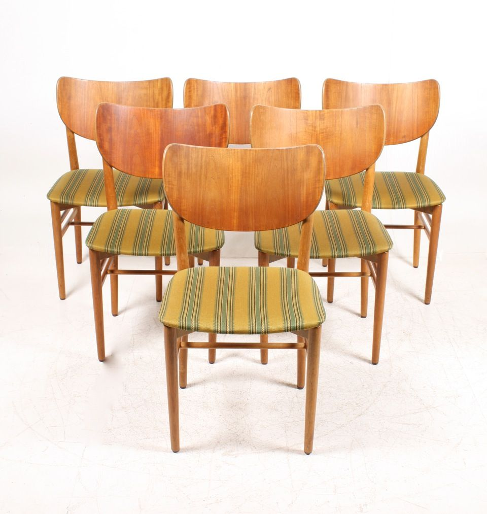Danish Teak Oak Dining Chairs by Eva Nils Koppel 1950s Set