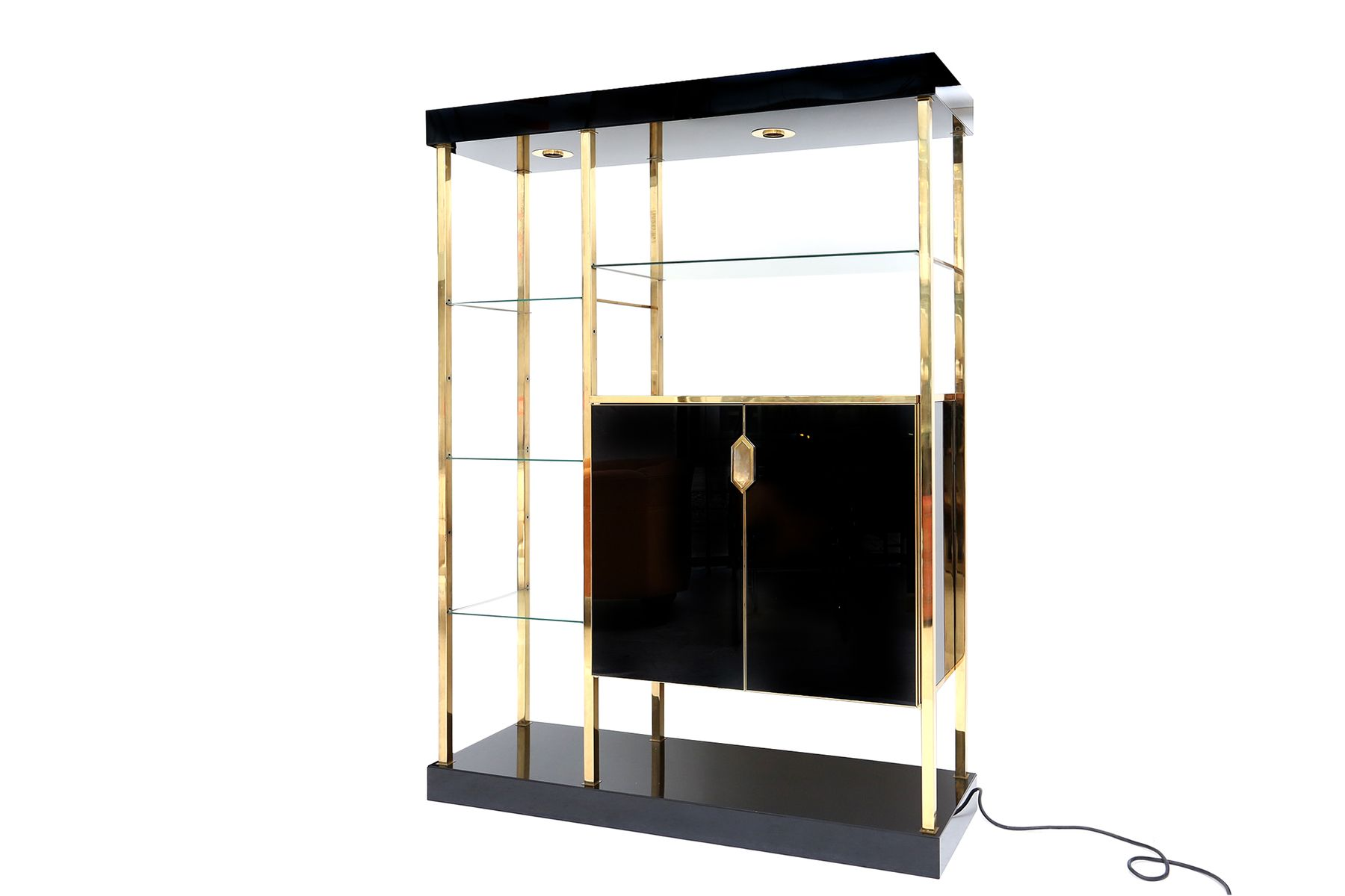 vintage black formica and brass etagere for sale at pamono. Black Bedroom Furniture Sets. Home Design Ideas
