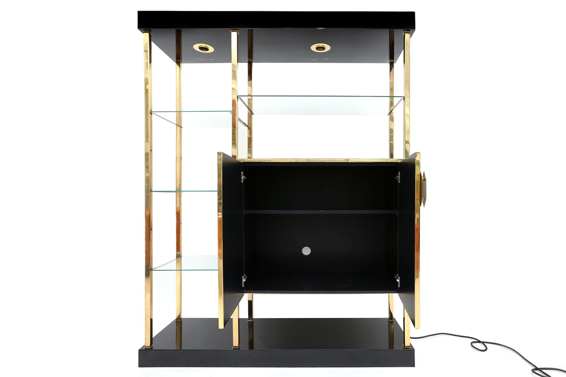 Vintage black formica and brass etagere for sale at pamono - Etagere string vintage ...