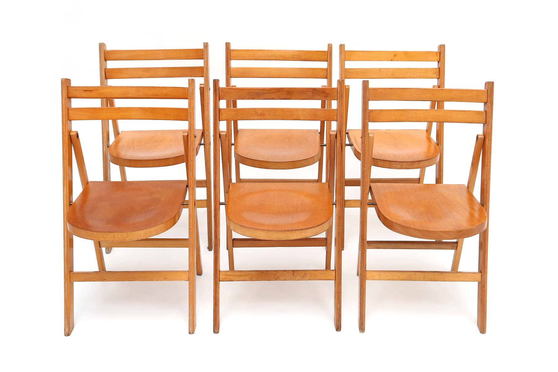 Mid Century Beech Folding Chairs 1950s Set of 10 for sale at Pamono