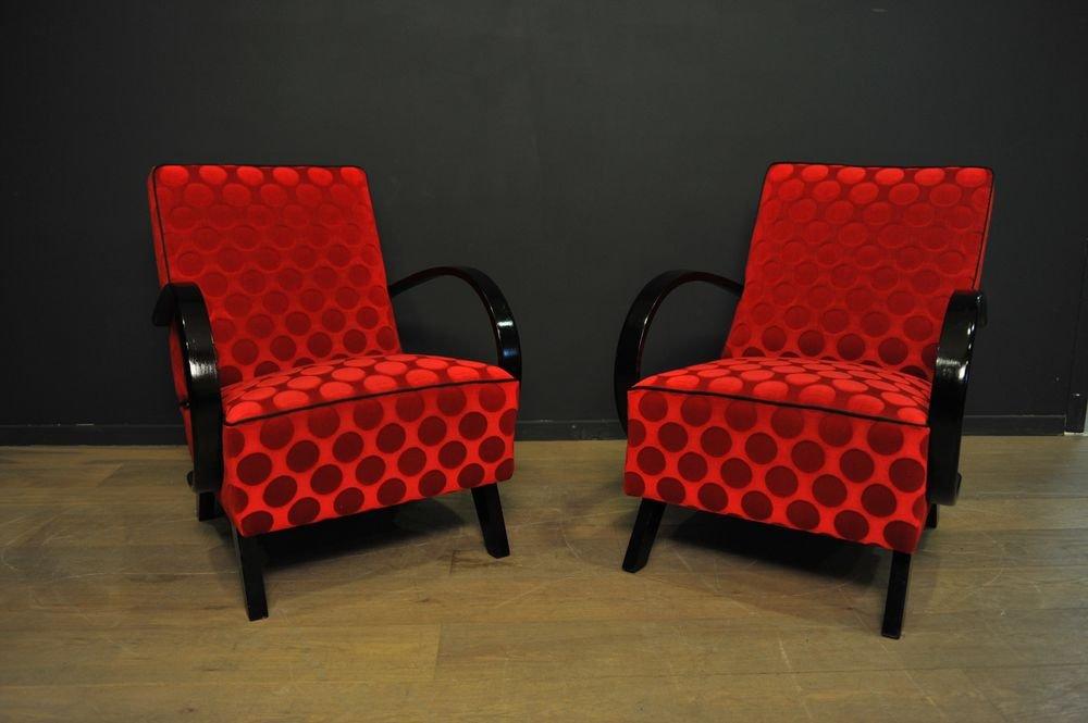 rote sessel von jindrich halabala f r thonet 1940er 2er set bei pamono kaufen. Black Bedroom Furniture Sets. Home Design Ideas
