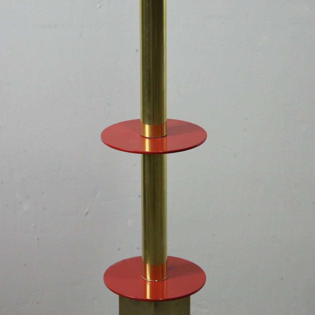 Vintage Brass Amp Opaline Glass Floor Lamp For Sale At Pamono