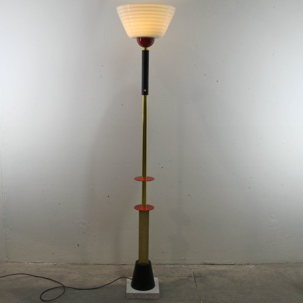 Vintage brass opaline glass floor lamp for sale at pamono for 8 floor lamp
