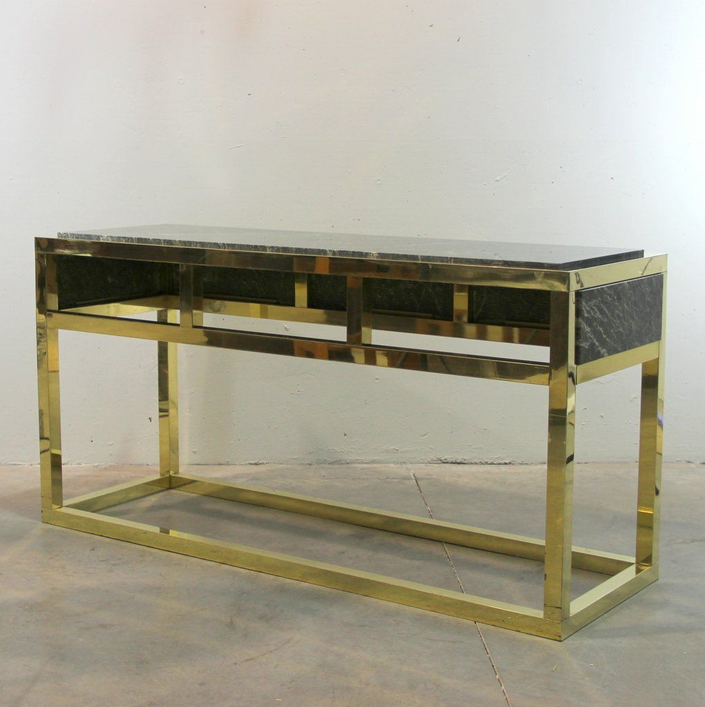 table console en marbre et laiton espagne 1970s en vente sur pamono. Black Bedroom Furniture Sets. Home Design Ideas