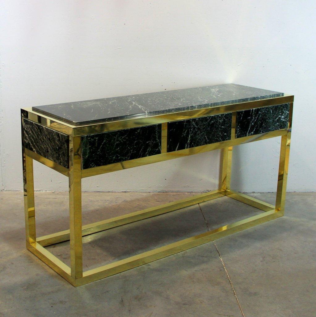 Table console en marbre et laiton espagne 1970s en vente for Console marbre