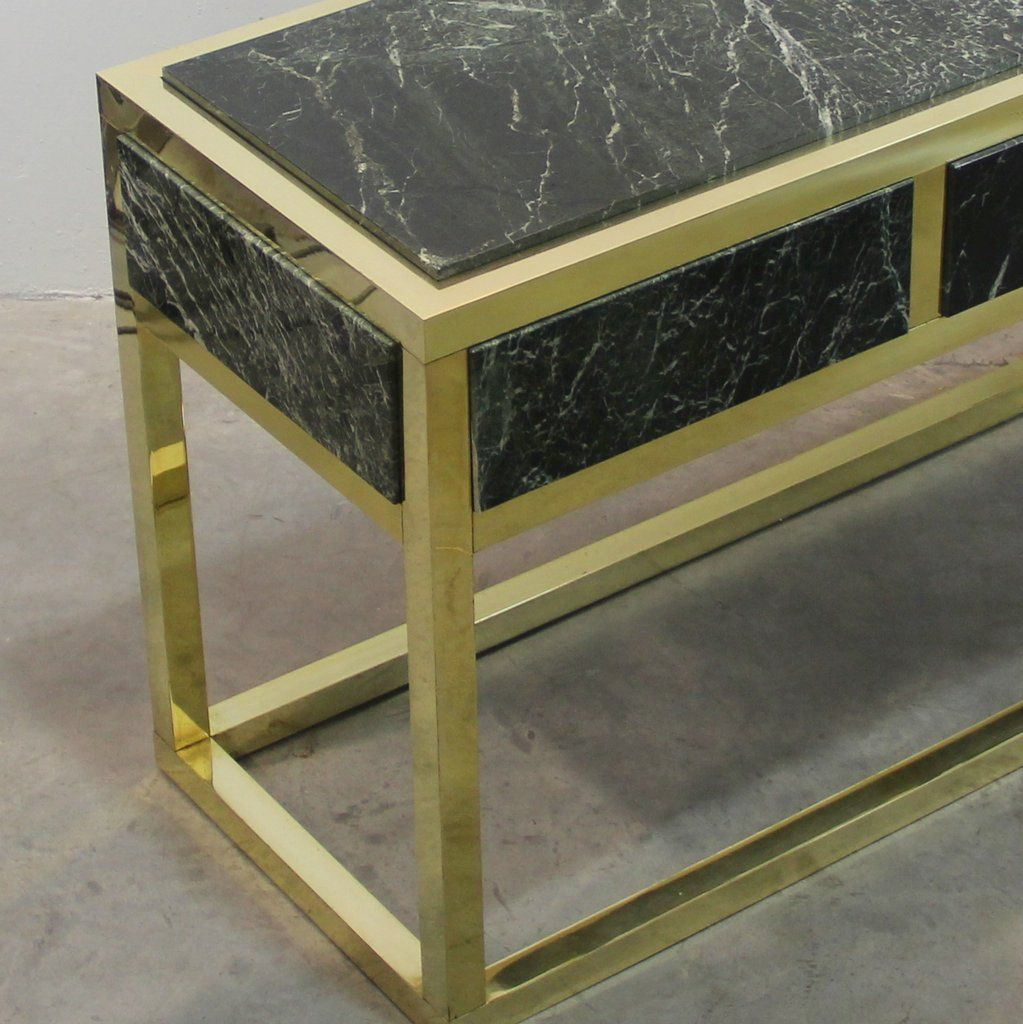 Spanish Marble U0026 Brass Console Table, 1970s