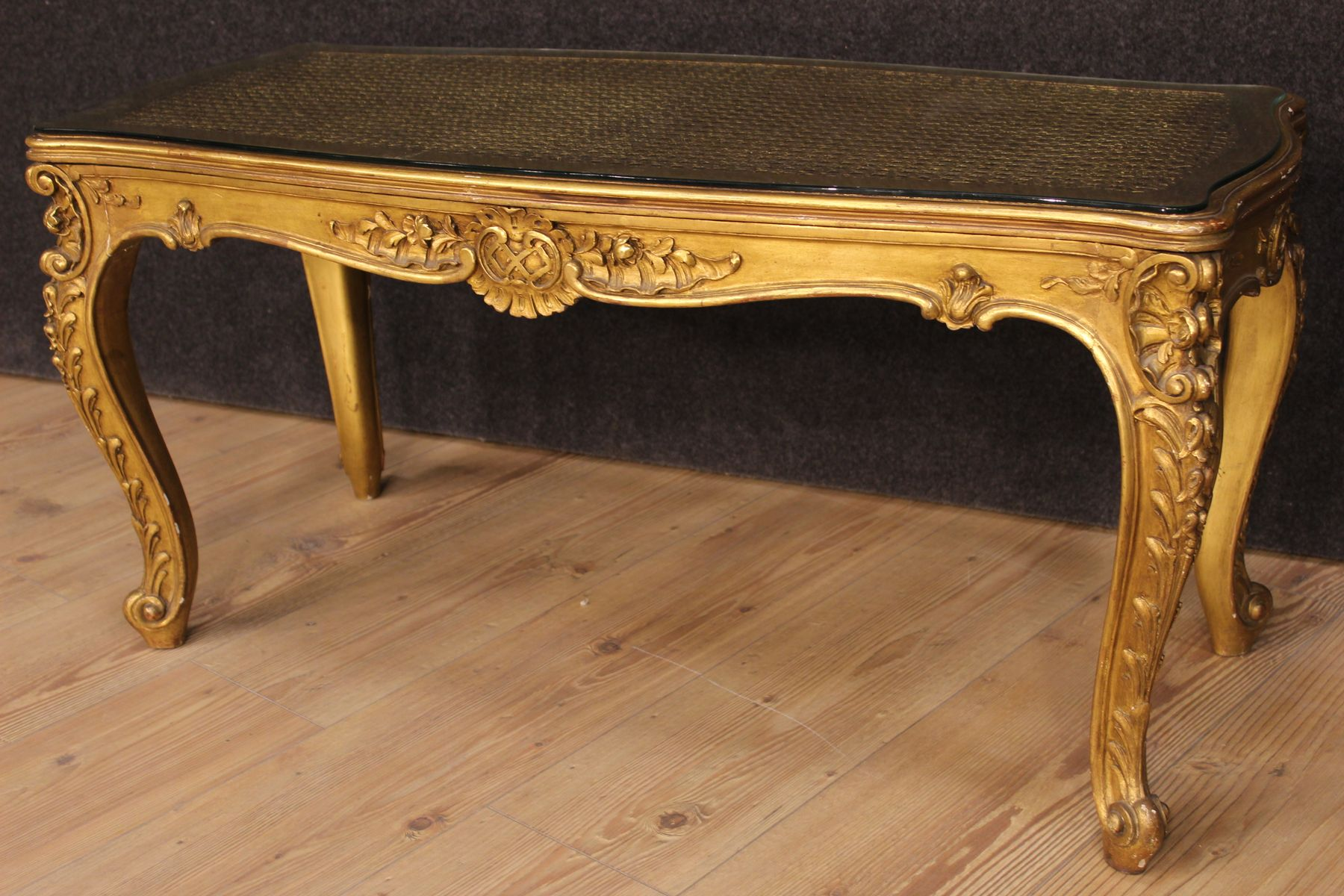 Vintage Italian Ornate Golden Coffee Table For Sale At Pamono