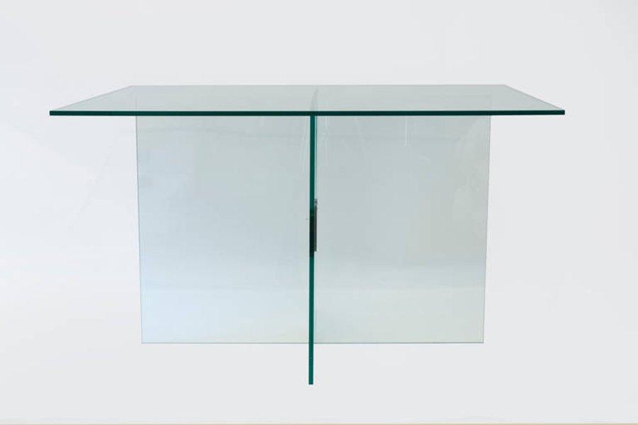 Table De Salle Manger En Verre Et Laiton Par Fontana