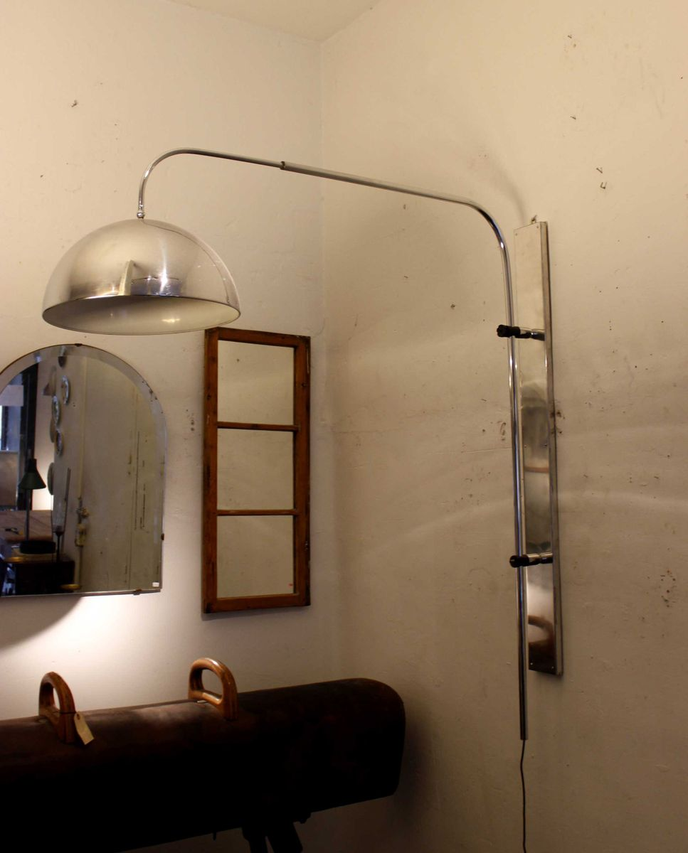 Large Vintage Chromed Wall Light, 1970s for sale at Pamono