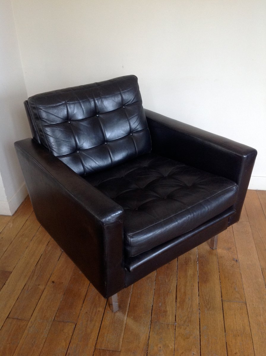 mid century black leather club chair for sale at pamono. Black Bedroom Furniture Sets. Home Design Ideas