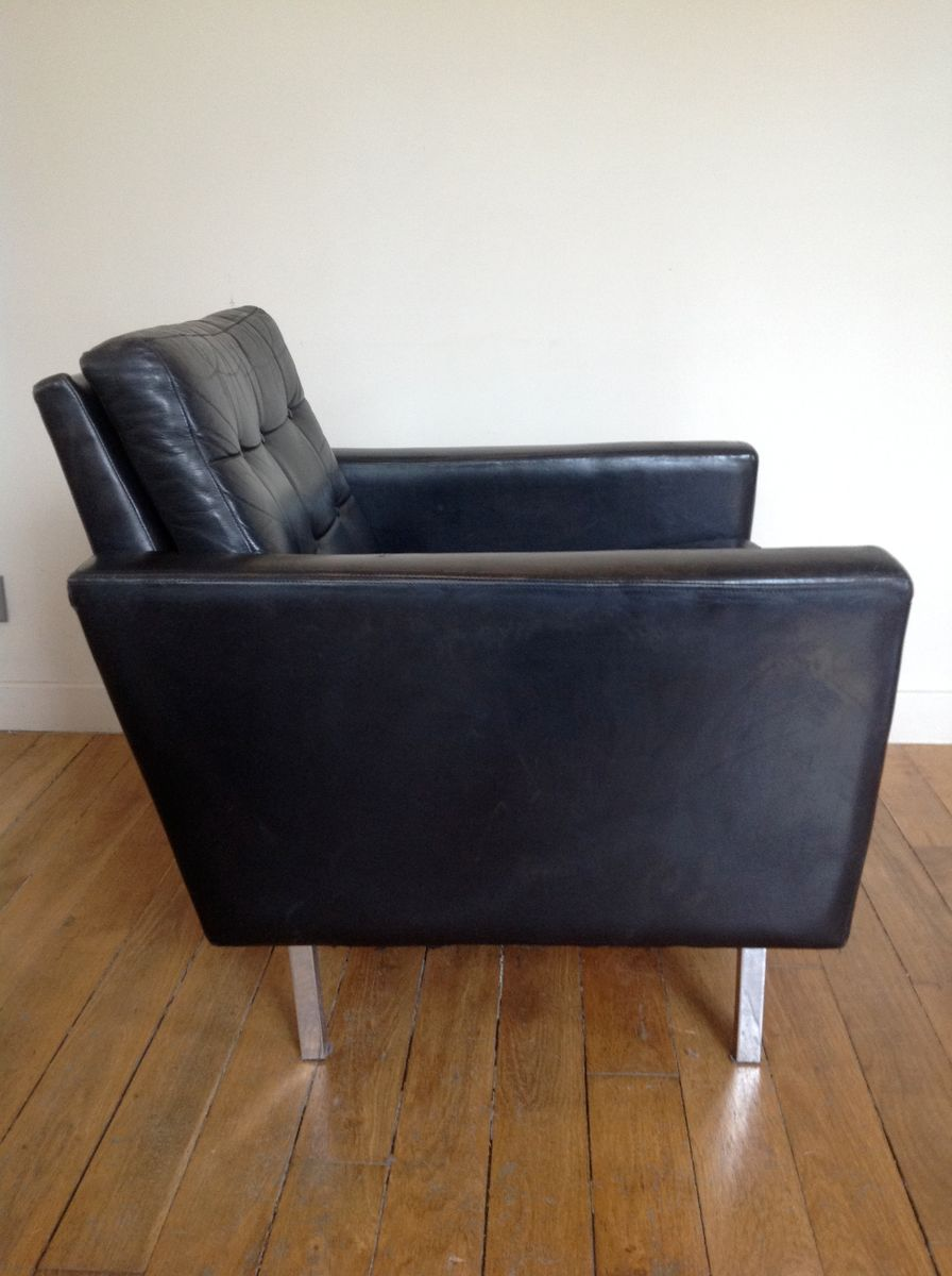 Mid Century Black Leather Club Chair For Sale At Pamono