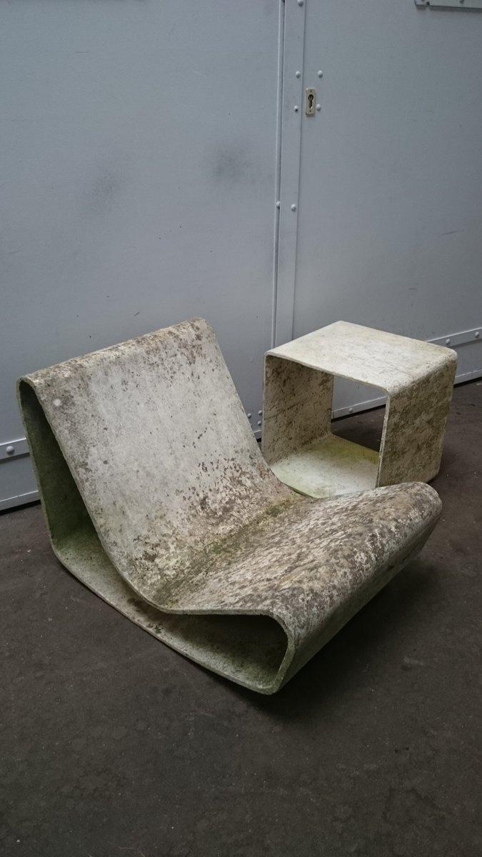 loop stuhl mit beistelltisch von willy guhl f r eternit. Black Bedroom Furniture Sets. Home Design Ideas