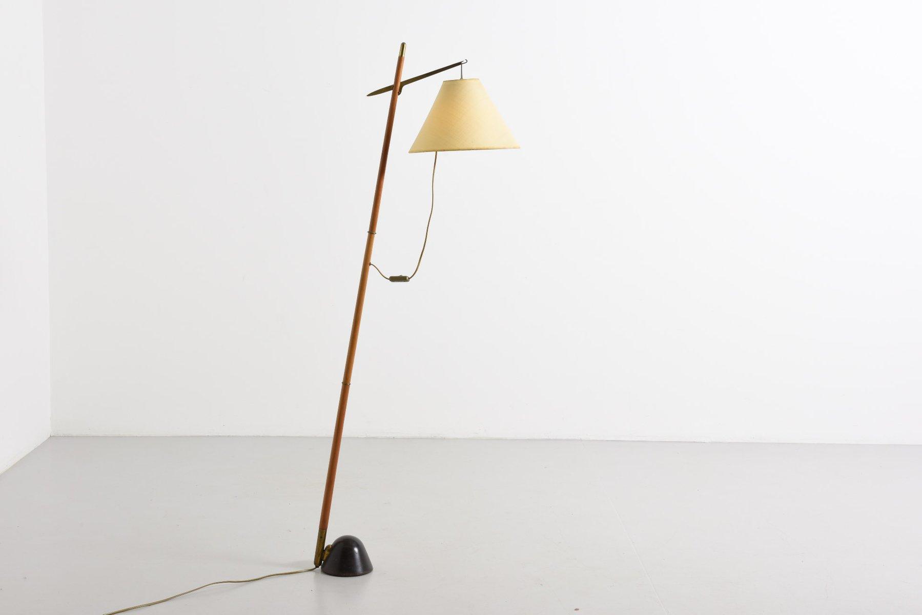 vintage floor lamp with brass suspension for sale at pamono. Black Bedroom Furniture Sets. Home Design Ideas