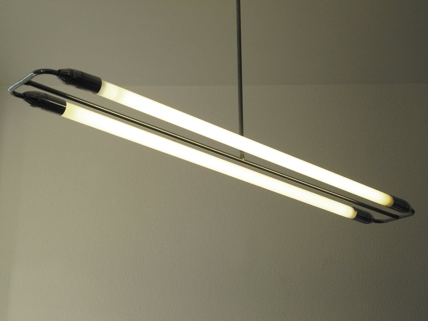 Large Mid Century Chrome Fluorescent Lamp 1950s For Sale