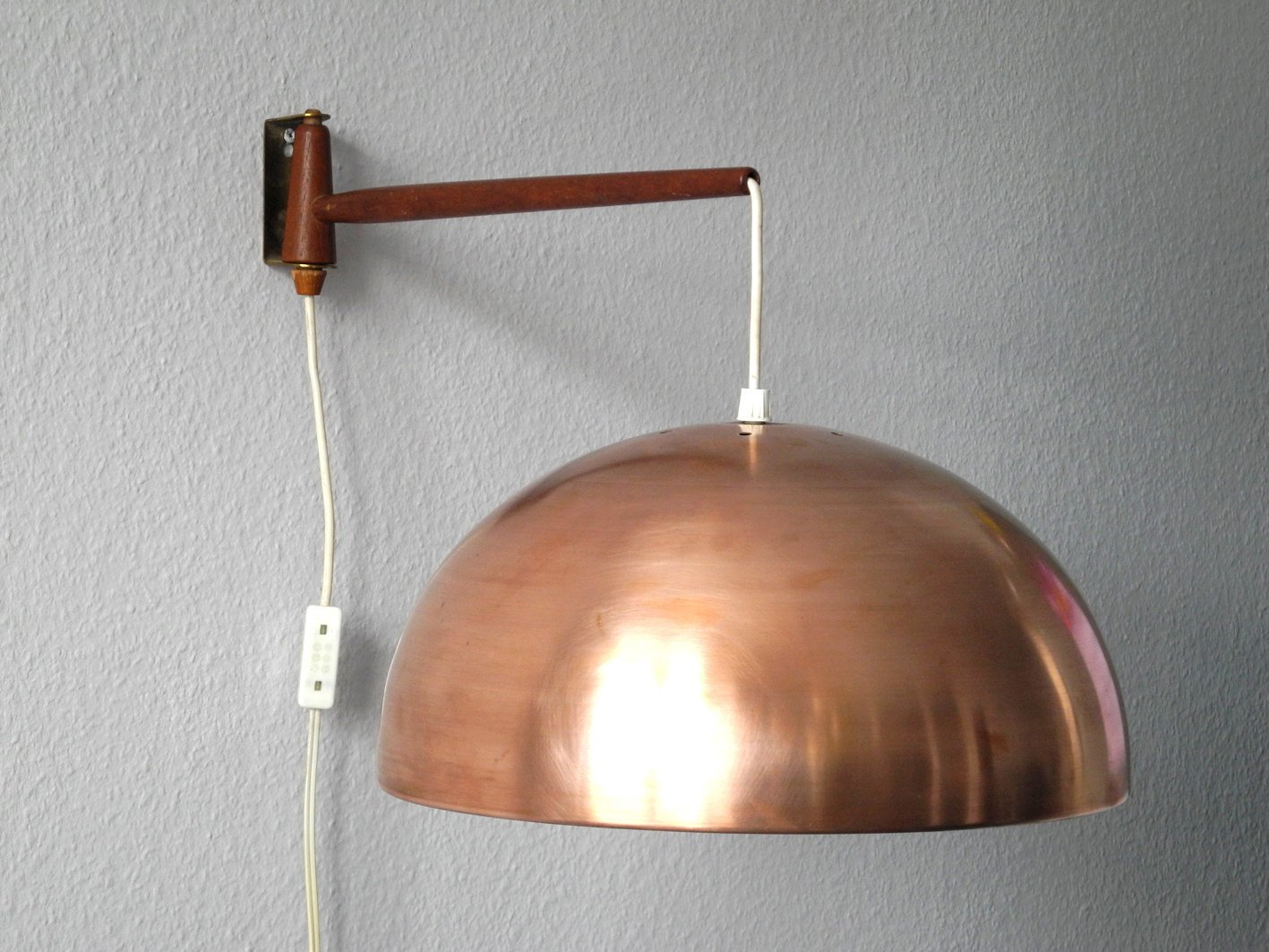 Teak & Brass Swivel Wall Lamp with Copper Shade, 1960s for sale at Pamono