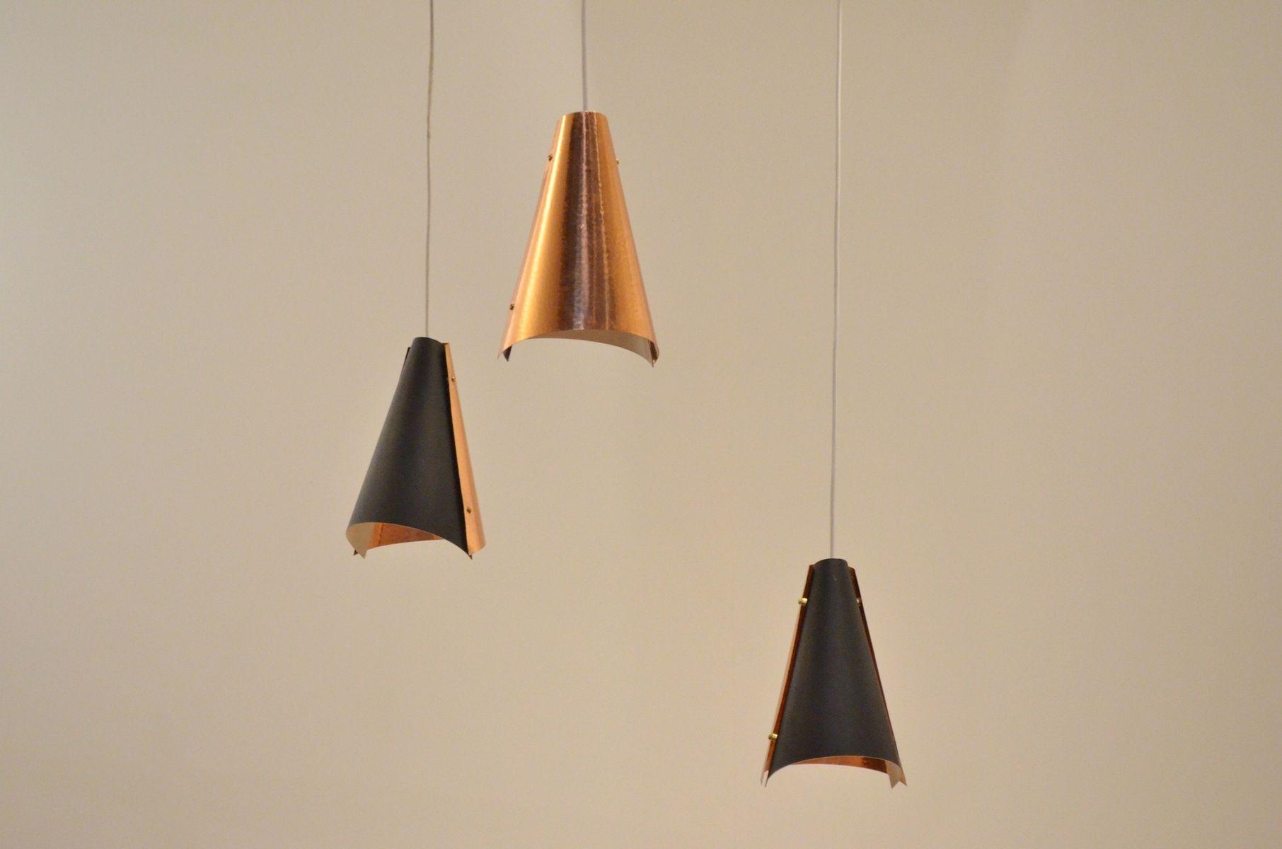 d nische h ngelampe aus kupfer metall mit drei leuchten bei pamono kaufen. Black Bedroom Furniture Sets. Home Design Ideas
