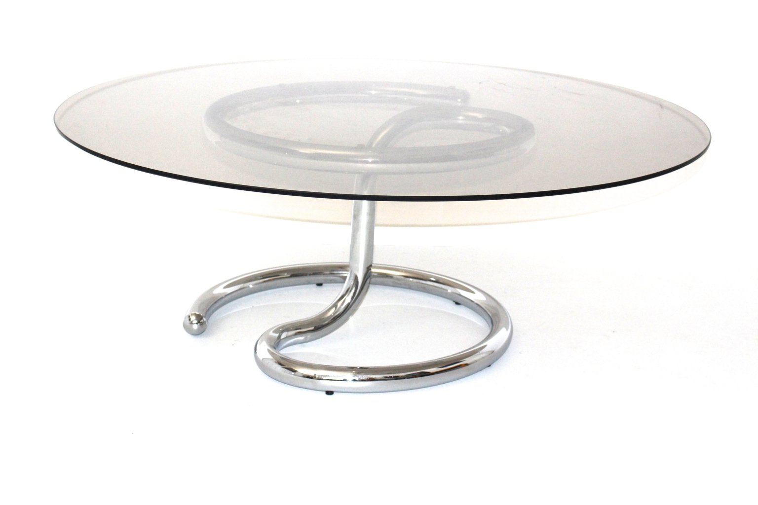 Vintage Curved Chromed Glass Coffee Table For Sale At Pamono
