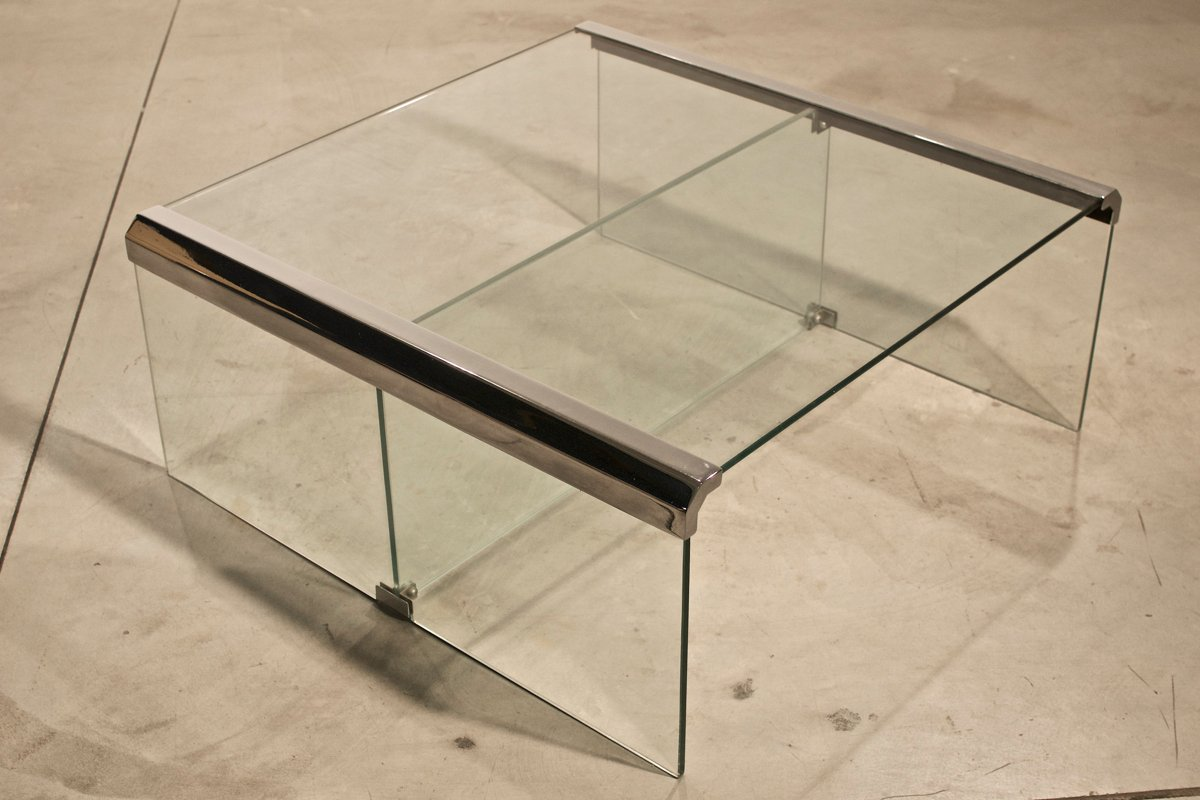vintage italian chrome and glass coffee table for sale at pamono - vintage italian chrome and glass coffee table