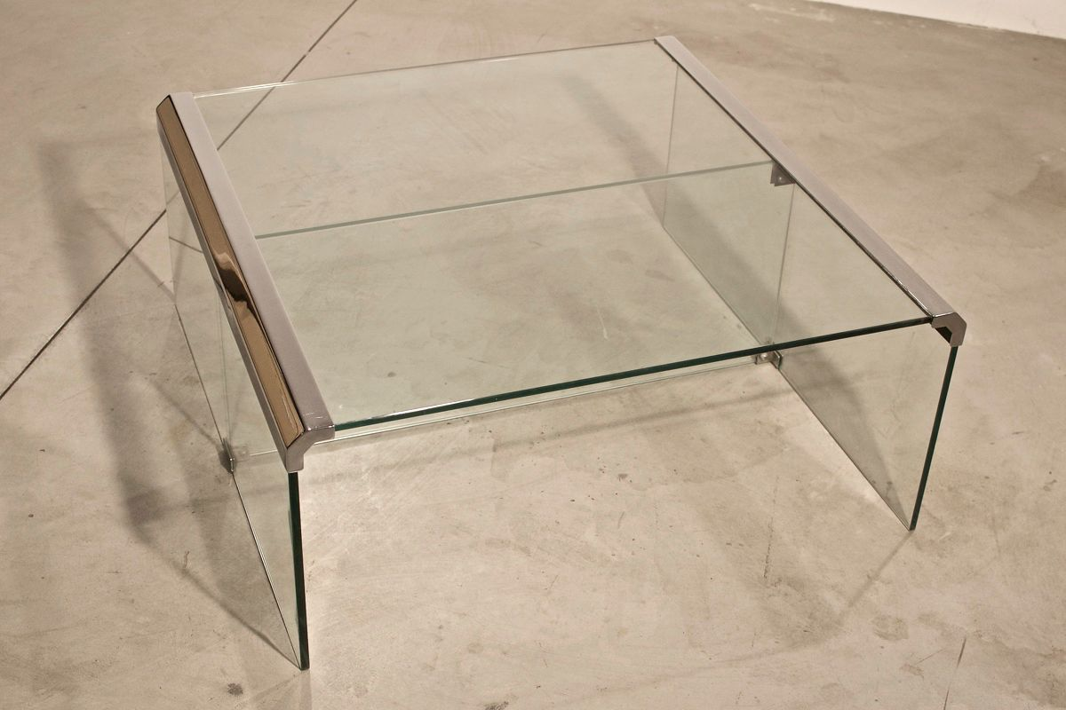 vintage italian chrome and glass coffee table for sale at pamono - vintage italian chrome and glass coffee table   price per piece