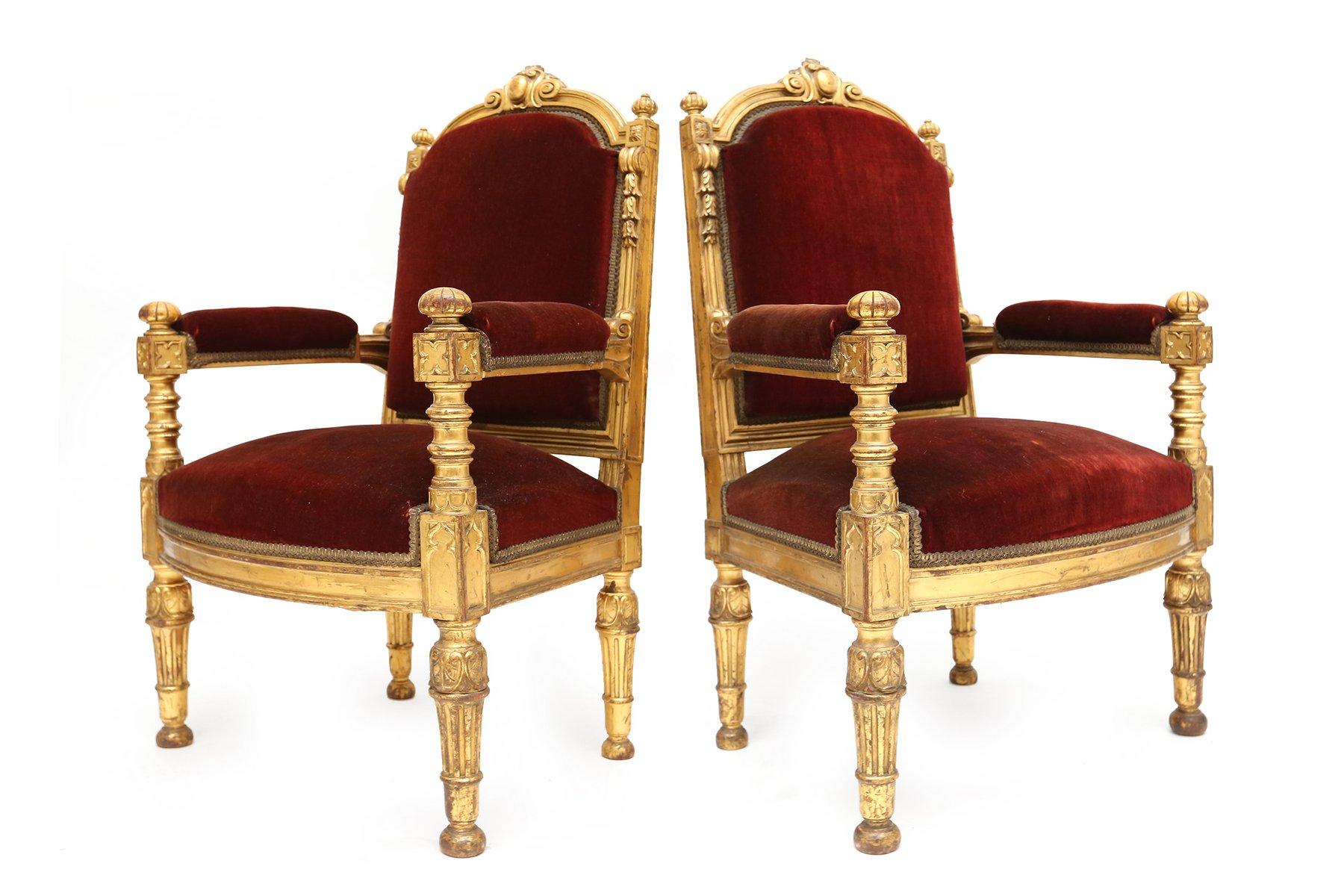 Antique velvet chair - Antique Italian Red Velvet Thrones Set Of 2