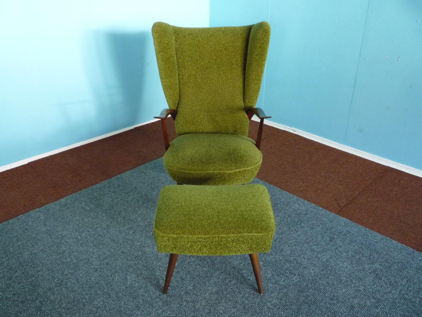 sessel mit hoher r ckenlehne mit hocker 1950er bei pamono. Black Bedroom Furniture Sets. Home Design Ideas