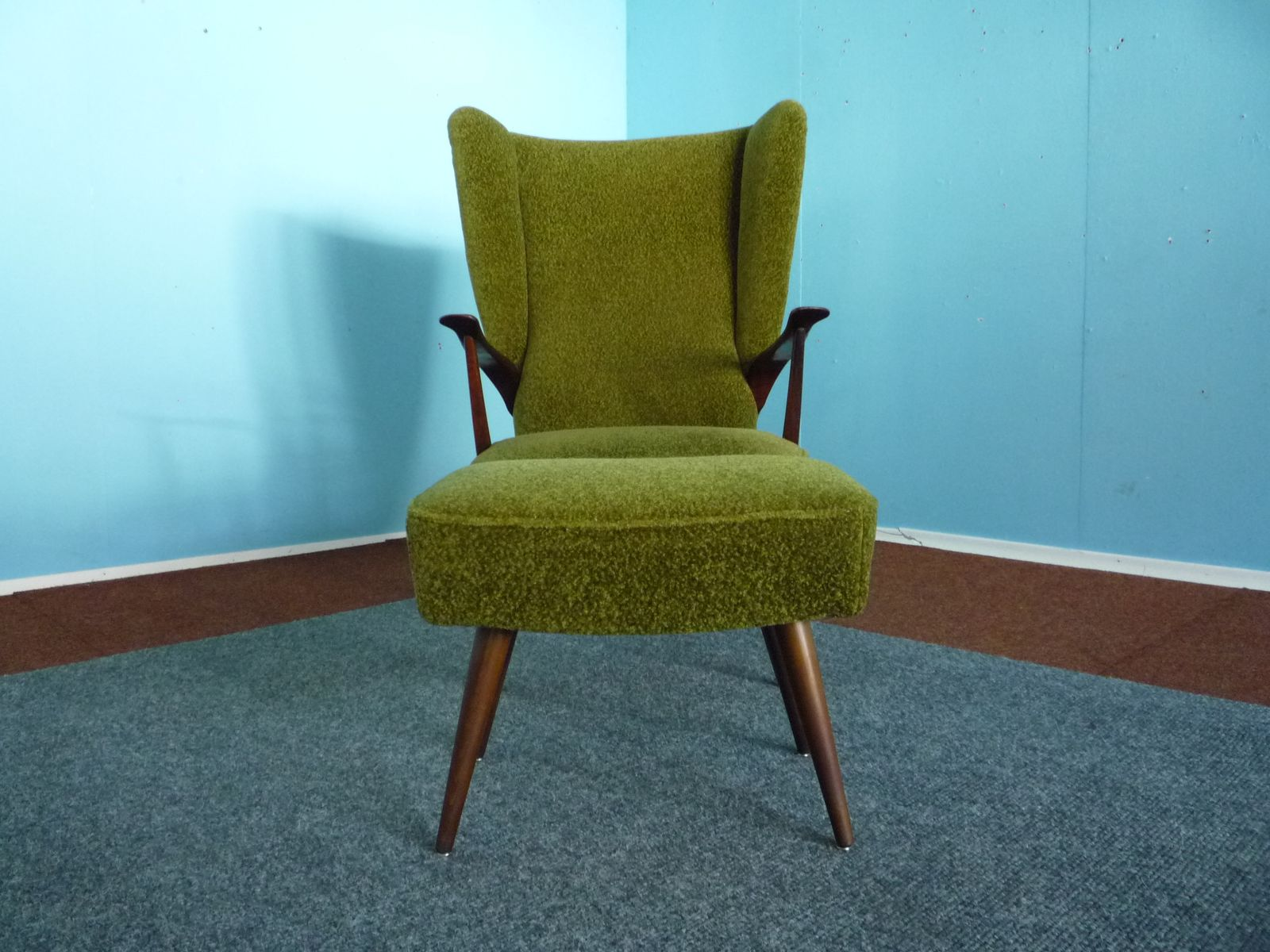 Wing Chair with Footstool 1950s for sale at Pamono