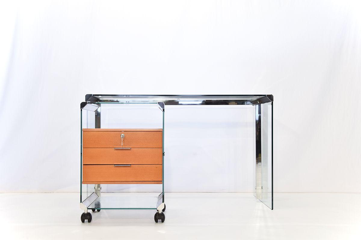 schreibtisch aus glas chrom von pierangelo galotti f r galotti radice bei pamono kaufen. Black Bedroom Furniture Sets. Home Design Ideas