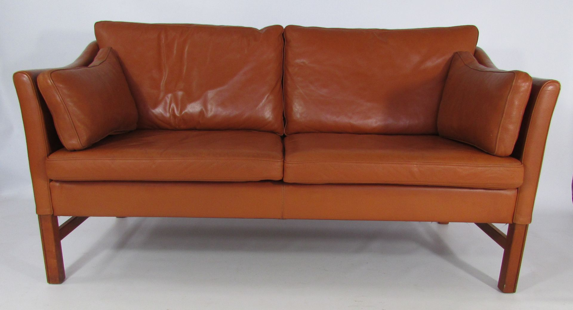 Danish tan leather two seater sofa from skippers m bler for Tan couches for sale