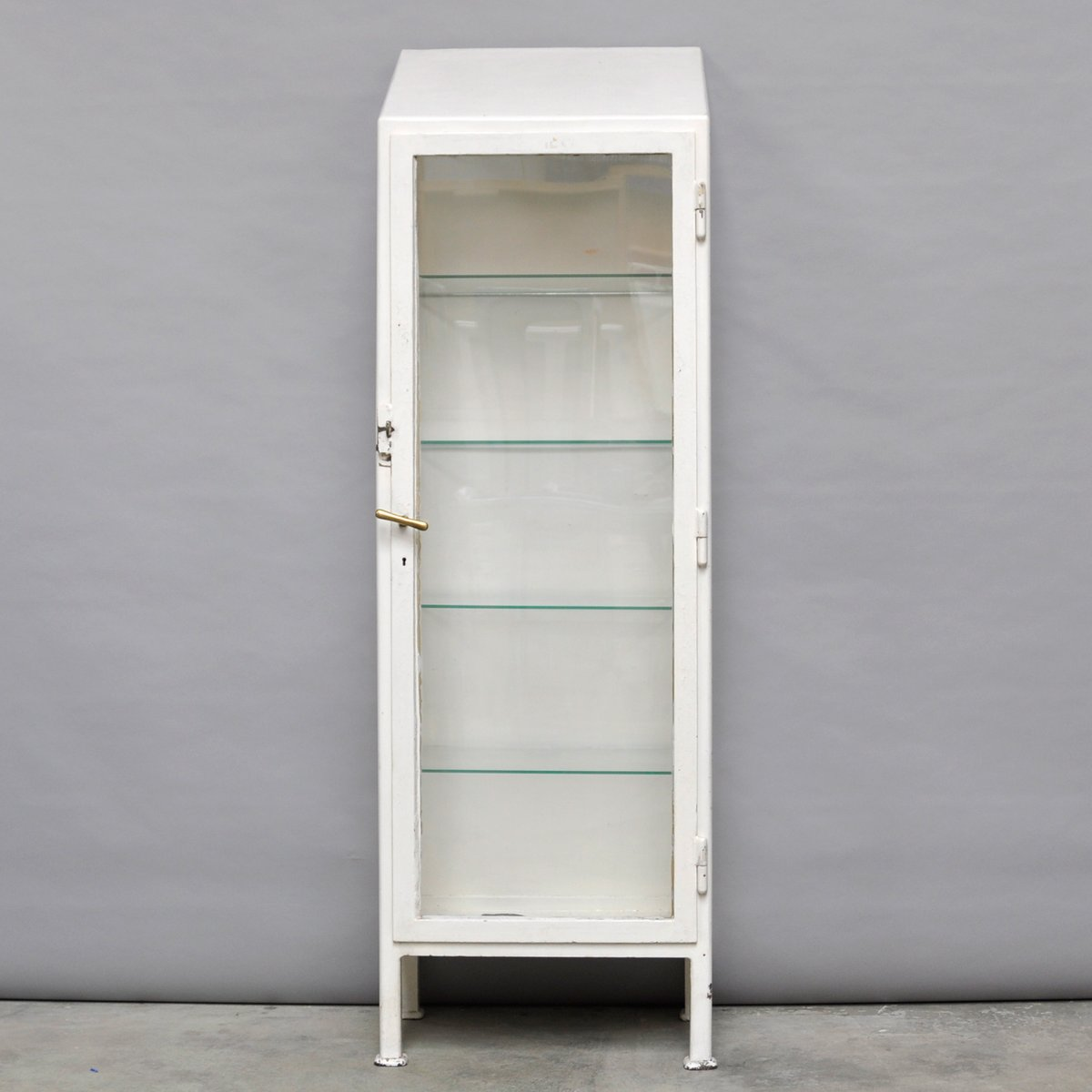 Attractive Angled Industrial Medical Cabinet, 1930s
