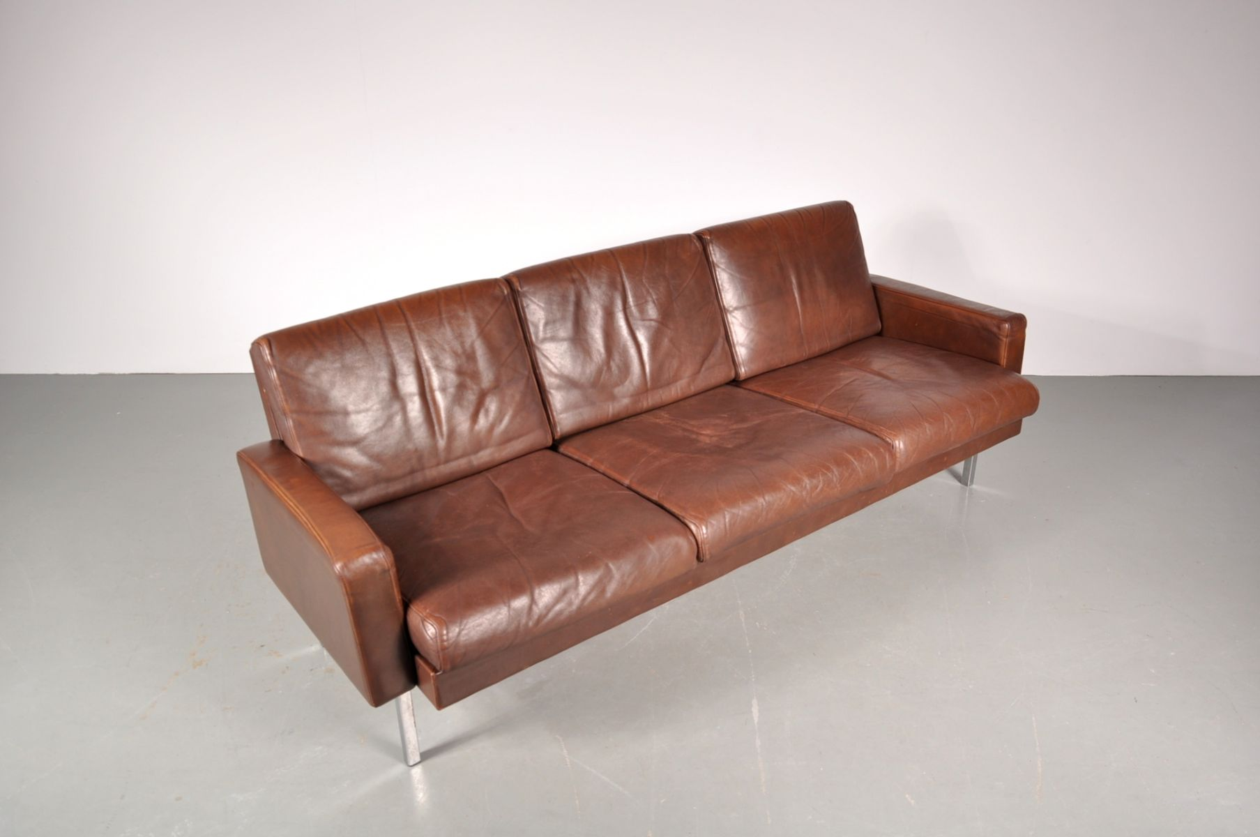 Brown leather three seater sofa from 39 t spectrum 1960s for Leather sofa 7 seater