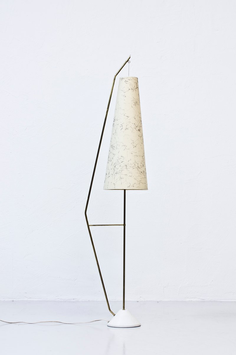aluminium and brass floor lamp 1950s