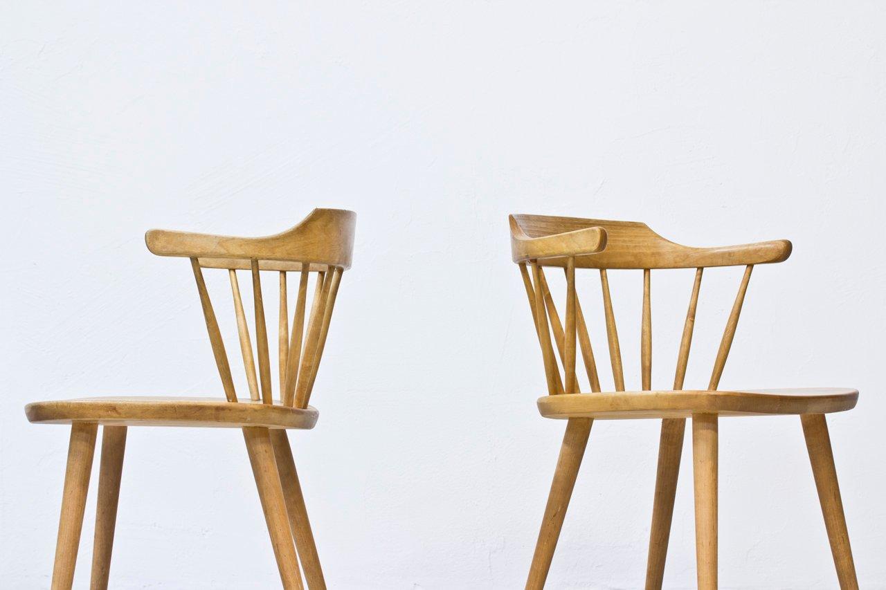 Birch Småland Dining Chairs by Yngve Ekström for Stolab, 1950s, Set of 8 for sale at Pamono