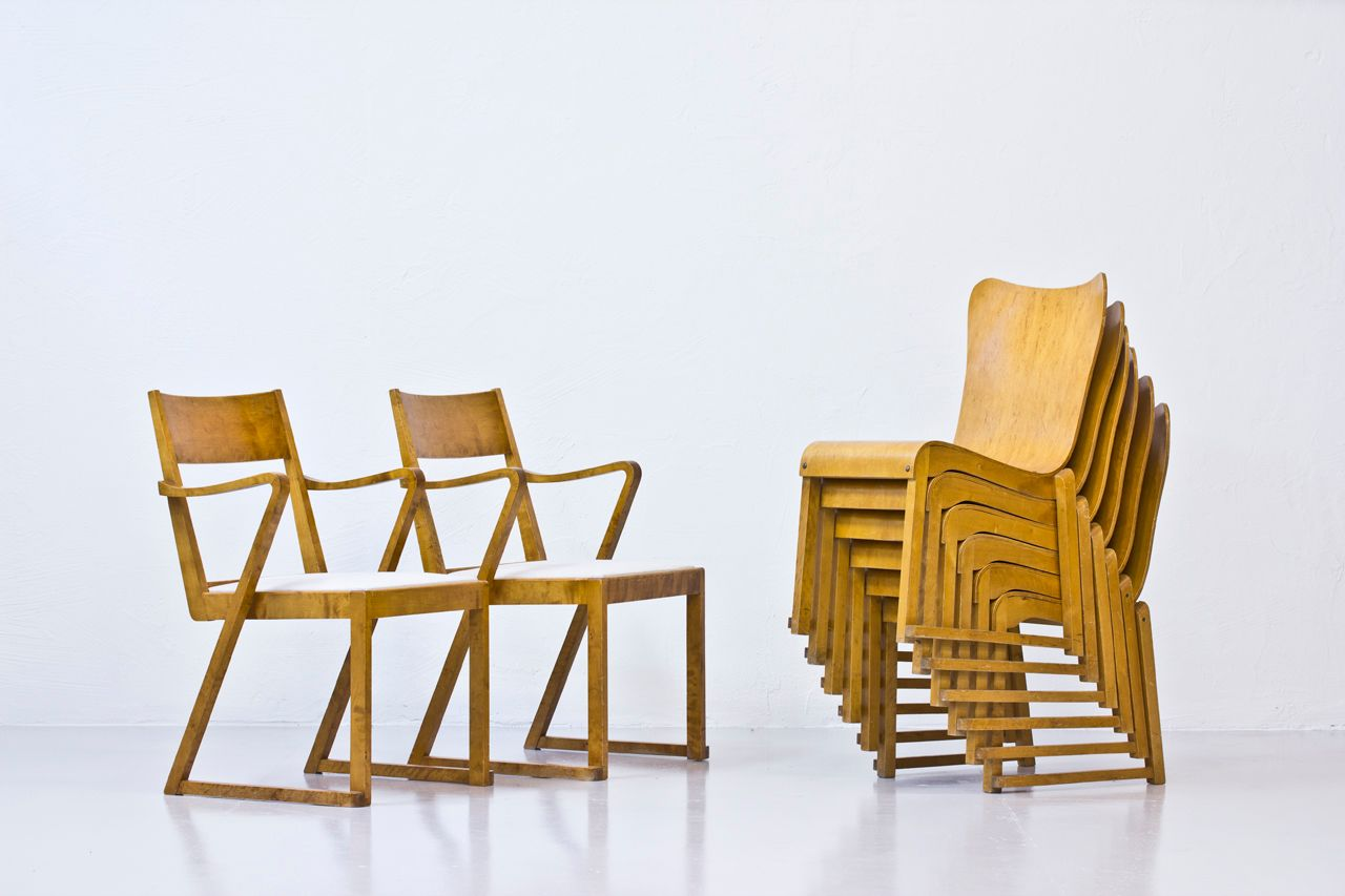stacking bentwood chairs by axel larsson for svngsta stilmbler 1950s set of 8