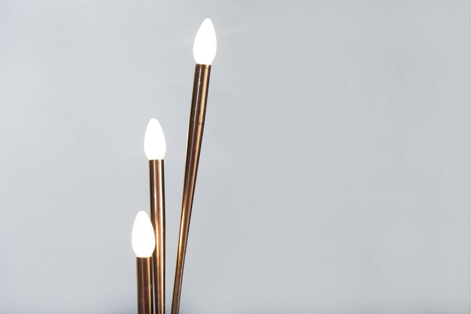 Italienische vintage stehlampe mit drei leuchten bei for Italienische leuchten
