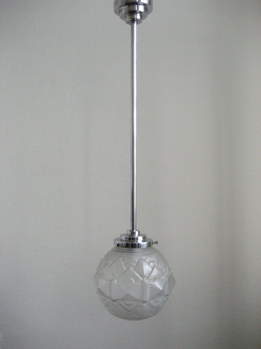 lampe suspension art d co en verre givr 1930s en vente sur pamono. Black Bedroom Furniture Sets. Home Design Ideas