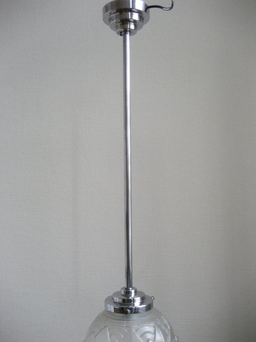 lampe suspension art d co en verre givr 1930s en vente. Black Bedroom Furniture Sets. Home Design Ideas