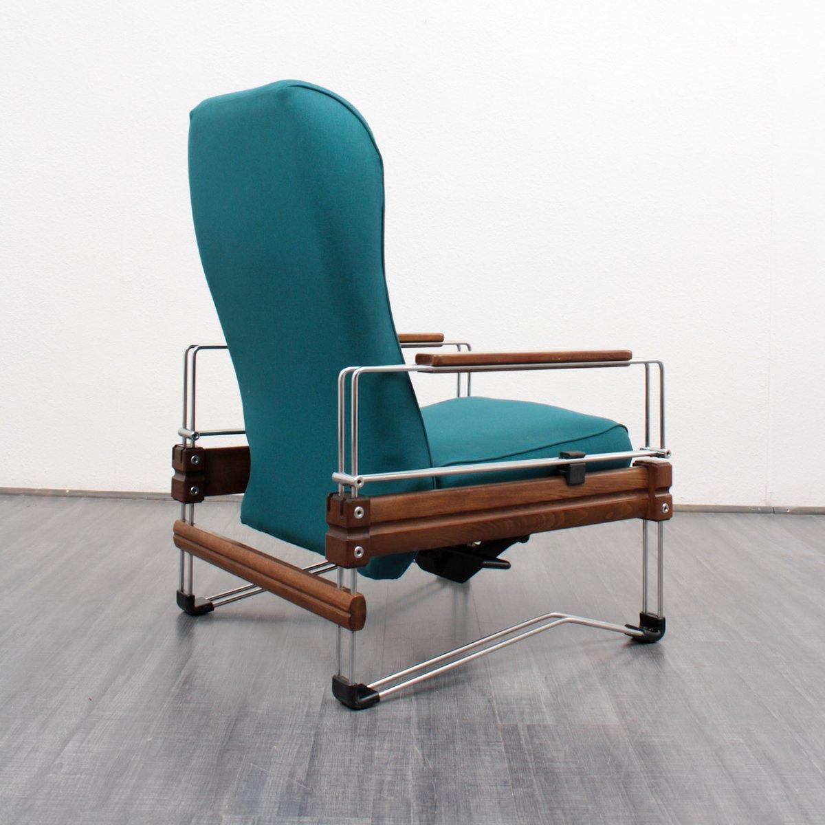 vintage lounge sessel aus holz mit verchromten gestell bei. Black Bedroom Furniture Sets. Home Design Ideas